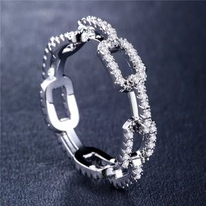 Jewelry - Mimi  Pave Sterling  Silver Link Ring